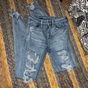 distressed ae high rise jeggings